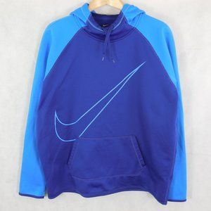 Nike Therma-Fit Blue Hoodie Size XL Large Swoosh
